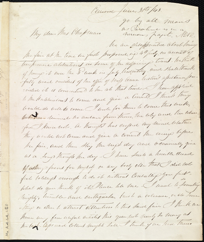 Letter from Mary Merrick Brooks, Concord, [Mass.], to Maria Weston Chapman, June 30th / [18]43