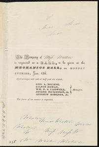 Invitation from Andrew Robeson to Miss Weston