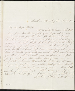Letter from Catherine H. Spear, Dedham, [Mass.], to Caroline Weston, Monday Eve[ning], Dec. 21, [1846?]
