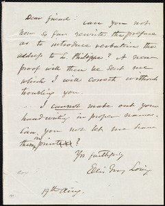Letter from Ellis Gray Loring to Maria Weston Chapman, 19th Aug. [1840?]