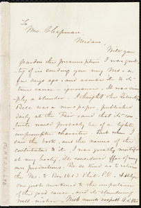 Letter from A. L. Otis, [Philadelphia?, Penn.], to Maria Weston Chapman, [1857 Dec. 5-23]