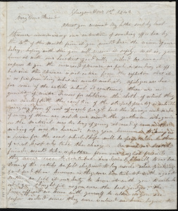 Letter from Mrs. Mary Welsh, Glasgow, [Scotland], to Maria Weston Chapman, Dec'r 1st, 1842