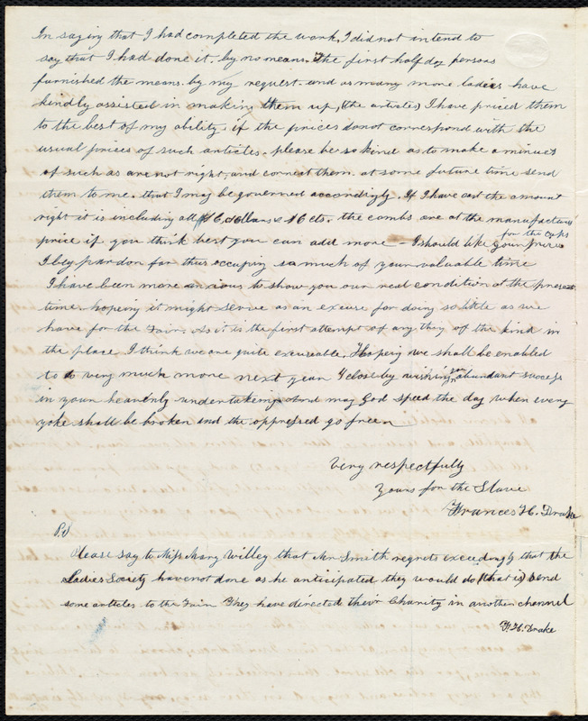 Letter from Frances H. Drake, Leominster, [Mass.], to Maria Weston Chapman, Dec. 18th, 1842