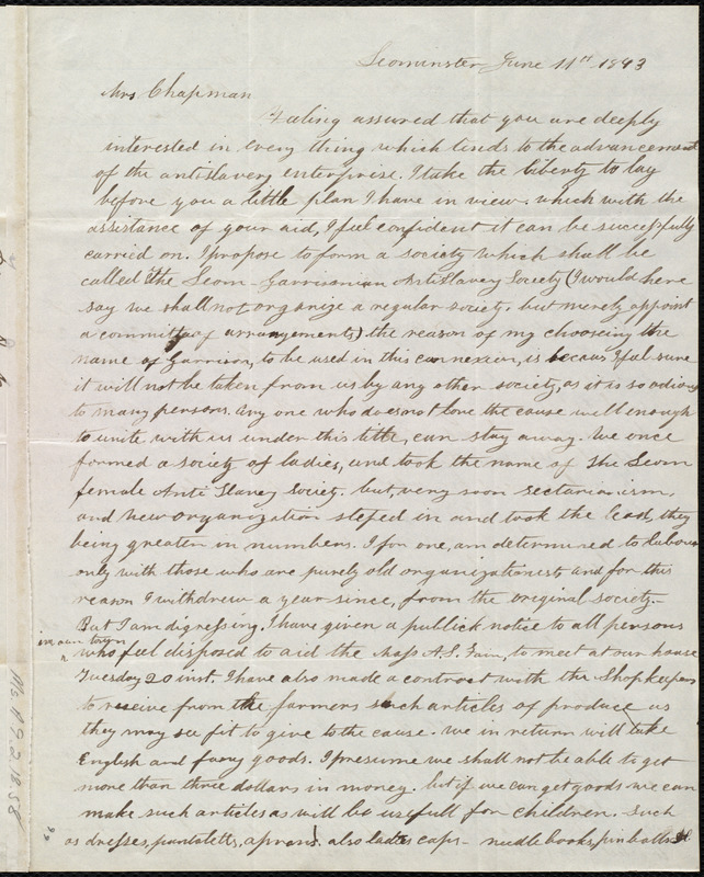 Letter from Frances H. Drake, Leominister, [Mass.], to Maria Weston Chapman, June 11th, 1843