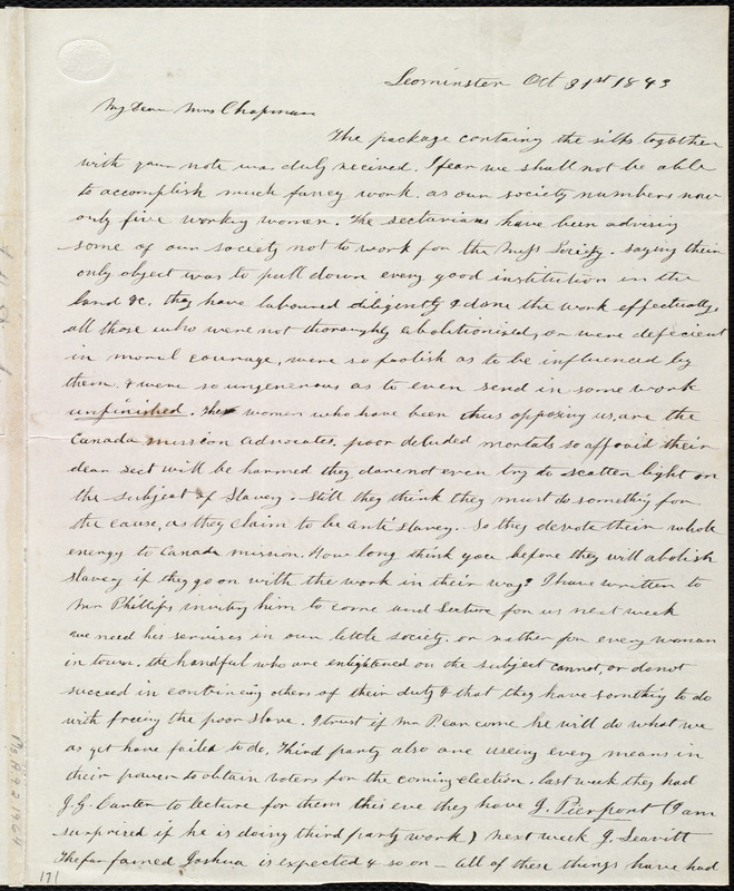 Letter from Frances H. Drake, Leominster, [Mass.], to Maria Weston Chapman, Oct. 31st, 1843