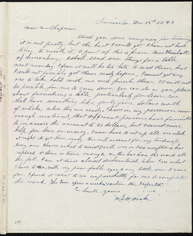 Letter from Frances H. Drake, Leominster, [Mass.], to Maria Weston Chapman, Dec. 15th, 1843
