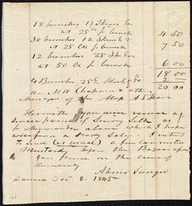 Letter from Abner Sanger, Danvers, [Mass.], to Maria Weston Chapman and the Managers of the Massachusetts Anti-Slavery Fair, Dec. 8, 1845