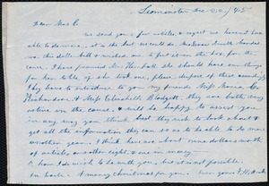 Letter from Frances H. Drake, Leominster, [Mass.], to Maria Weston Chapman, Dec. 22 / [18]45