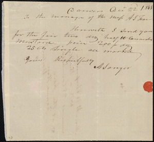 Letter from Abner Sanger, Danvers, [Mass.], to Maria Weston Chapman and the Managers of the Massachusetts Anti-Slavery Fair, Dec'r 22'd, 1845