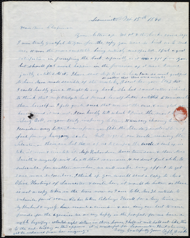 Letter from Frances H. Drake, Leominster, [Mass.], to Maria Weston Chapman, Feb. 15th, 1846