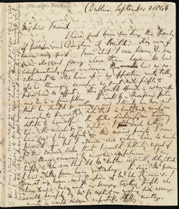 Incomplete letter from Richard Davis Webb, Dublin, [Ireland], to Maria Weston Chapman, September 1, 1846