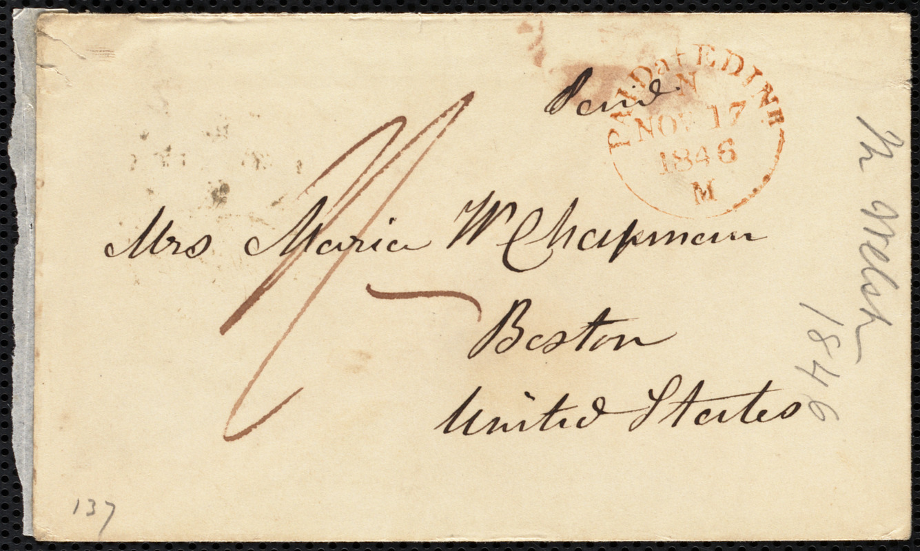 Letter from Mrs. Mary Welsh, Montpelier, Edin[bu]r[gh], [Scotland], to Maria Weston Chapman, Nov'r 17th, 1846