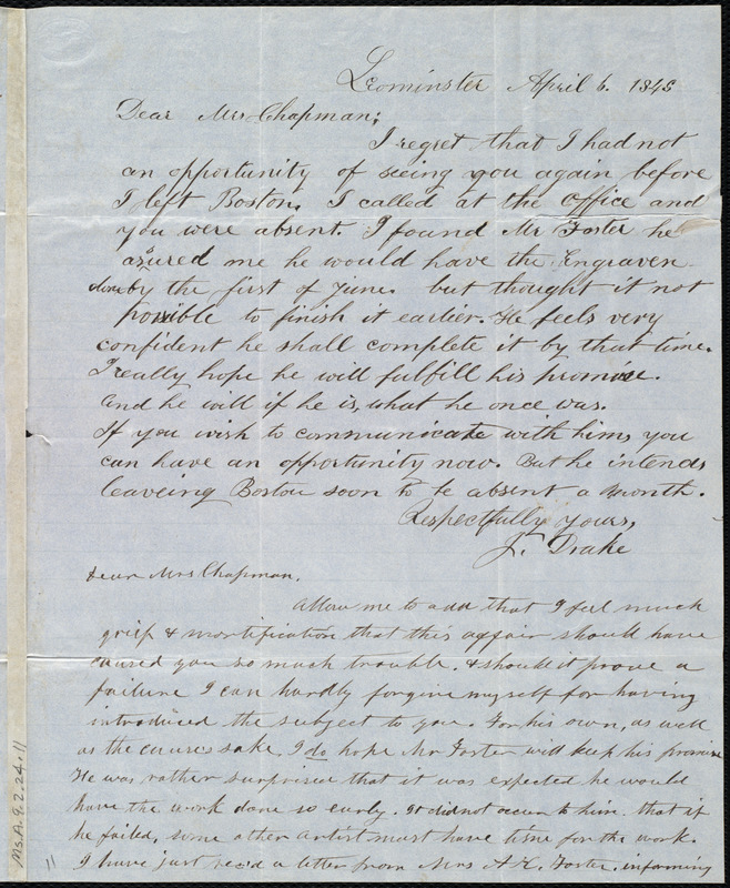 Letter from Jonathan Drake, Leominster, [Mass.], to Maria Weston Chapman, April 6, 1848