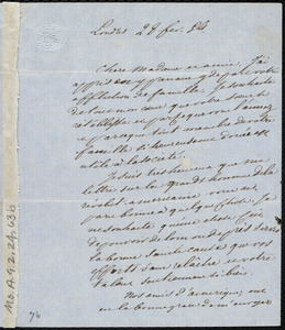 Letter from Victor Schoelcher to Maria Weston Chapman, 28 Fev. [18]54(?)