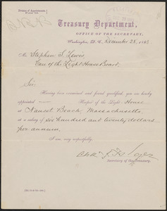 Appointment letter from Charles J. Folger, Secretary of the Treasury, to Stephen S. Lewis, 1883 December 28