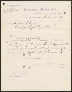 Transfer and appointment letter from Charles J. Folger, Secretary of the Treasury, to Stephen S. Lewis, 1883 October 2