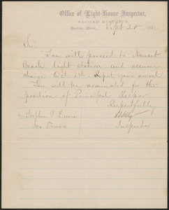 Transfer and appointment instructions letter from the Office of Light-House Inspector, Second District, to Stephen S. Lewis, 1883 September 28