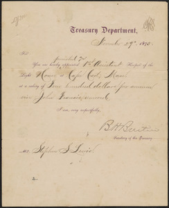 Appointment letter from Benjamin Helm Bristow, Secretary of the Treasury, to Stephen S. Lewis, 1875 November 29