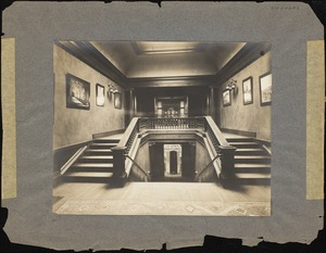 "Staircase (""The Court"")between Living and Dining Rooms of Dana Main, c.1911."