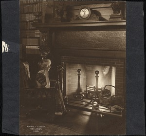 Helen Temple Cooke by the fireplace, c. 1912