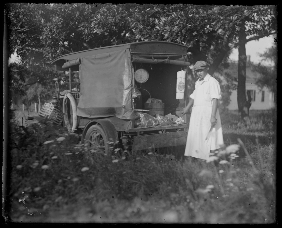 White apron meats - Old Fashioned Meat Cart Scale On Base Of Model T Ford Man Wearing Apron