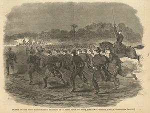 Charge of the First Massachusetts Regiment on a rebel rifle pit near Yorktown