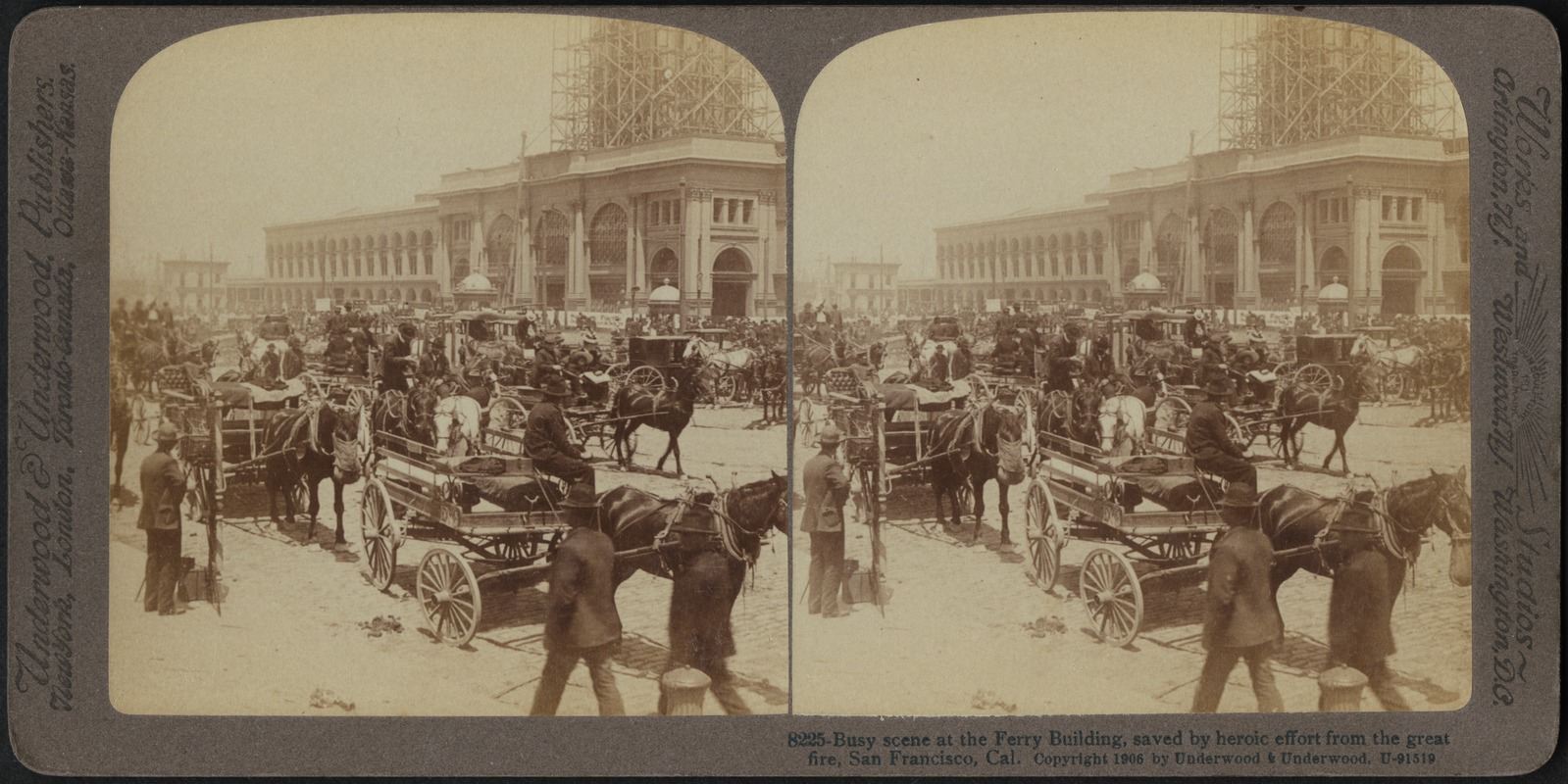 Busy scene at the ferry building, saved by heroic effort from the great fire, San Francisco, Cal.