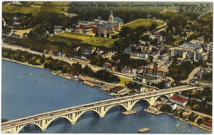 Aeroplane view of the Key Bridge and Georgetown College, Washington, D. C.