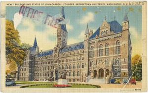 Healy building and Statue of John Carroll, founder Georgetown University, Washington, D. C.