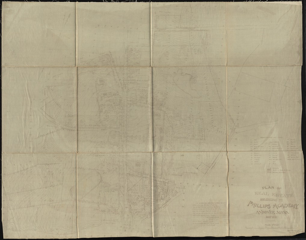 Plan of real estate belonging to Phillips Academy, Andover Mass.