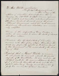 Letter of condolence to Daniel Webster's widow and family