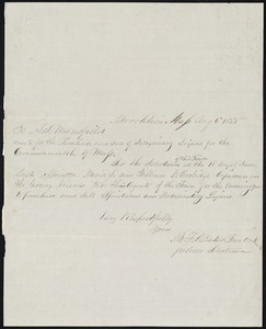 Letter appointing David S. and William Coolidge to be agents of the town to sell intoxicating liquor