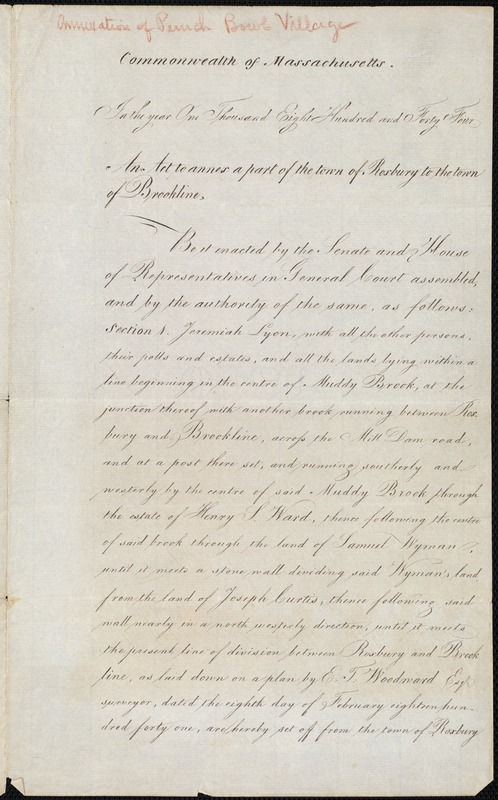 An act to annex part of the town of Roxbury to the town of Brookline