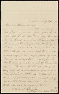 Letter notifying Charles Stearns to vacate land to be used for street construction, 9/11/1859
