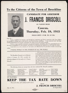 Election flyer for J. Francis Driscoll, candidate for assessor