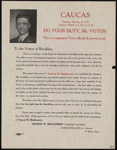 Election flyer for Francis W. Muldowney, candidate for assessor