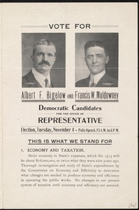 Election flyer for Albert Bigelow and Francis W. Muldowney for representative