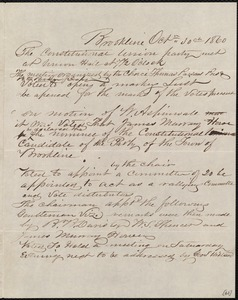 Minutes of meeting of the Constitutional Union Party, 10/30/1860