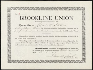 Certificate of Charles W. Stearns' membership in the Brookline Union