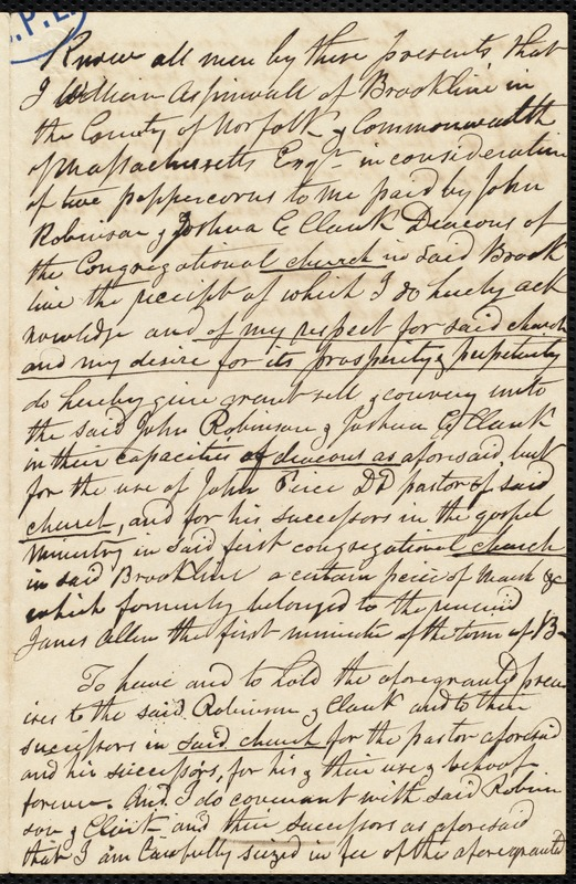 Acknowledgement of receipt of 52 peppercorns for the use of the Congregational Church