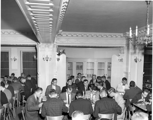 Dining room at 373 Commonwealth Avenue dormitory on Boston campus