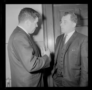 Assistant District Attorney Donald L. Conn, and criminal defense attorney, F. Lee Bailey in discussion
