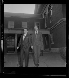Assistant District Attorney Donald Conn and forensic psychiatrist Dr. Ames Robey in front of the courthouse