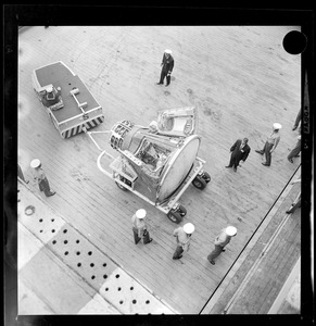 Boasting the largest number of Gemini series space capsule recoveries, Boston-based Aircraft Carrier Wasp returned home Friday with its precious cargo-- The Gemini 12