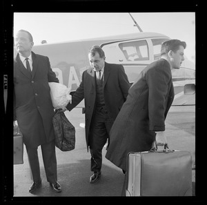 Albert DeSalvo's defense counsel F. Lee Bailey returns to Boston to confer with his client after Lynn capture