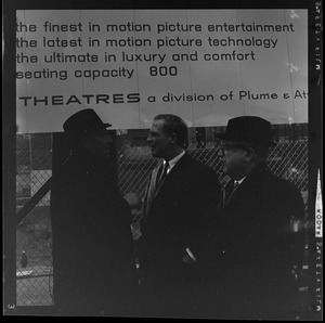 Ben Sack, Samuel Coffman, and Mayor Kevin White at the Pie Alley Theater ground breaking ceremony