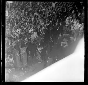 Bird's eye view of crowds in Post Office Square