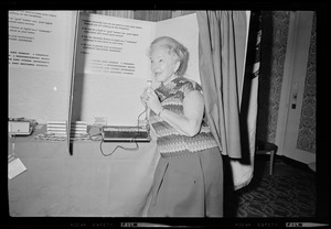 Helen Hayes, First Lady of the American Theater kicks off the USO's National Holiday Tape A Letter Program at the Statler Hilton Hotel, by making a recording to be sent to a serviceman
