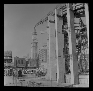 Building of the Boston Aquarium with Boston skyline in the background