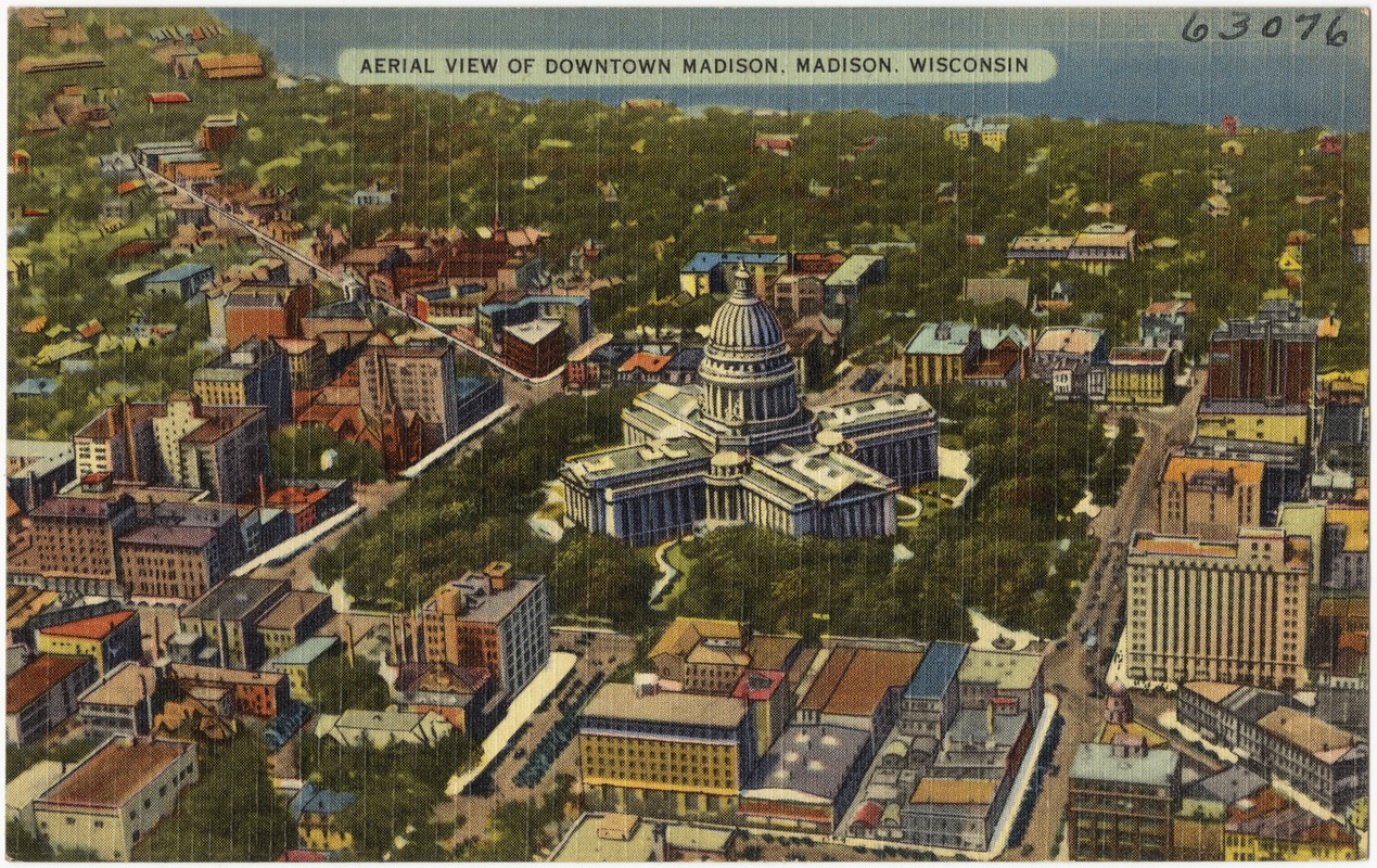 Aerial view of Downtown Madison, Madison, Wisconsin